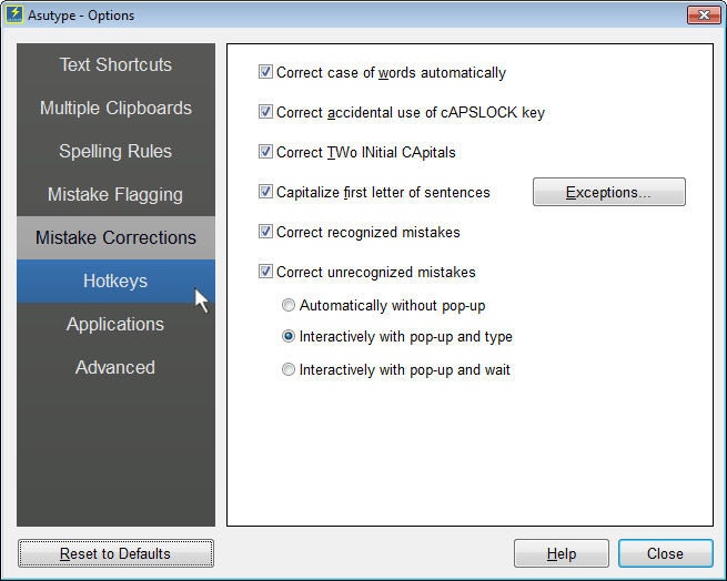 Mistake Correction Options