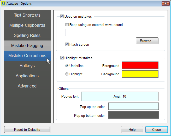 Mistake Flagging Options