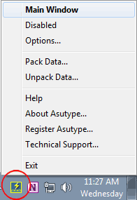 Asutype's running icon in the system tray