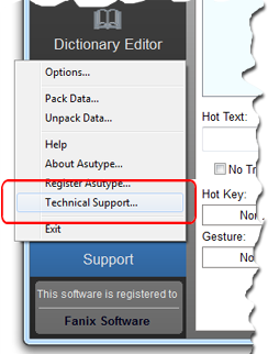 Use Support menu to ask for technical support